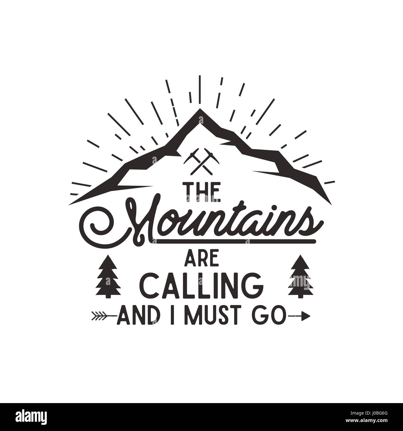 Berg ruft plakat berge explorer vintage hand gezeichnete for The mountains are calling and i must go metal sign
