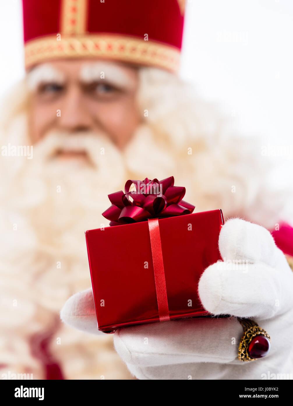 Sinterklaas Mit Geschenk Typische Hollandische Zeichen Teil Einer