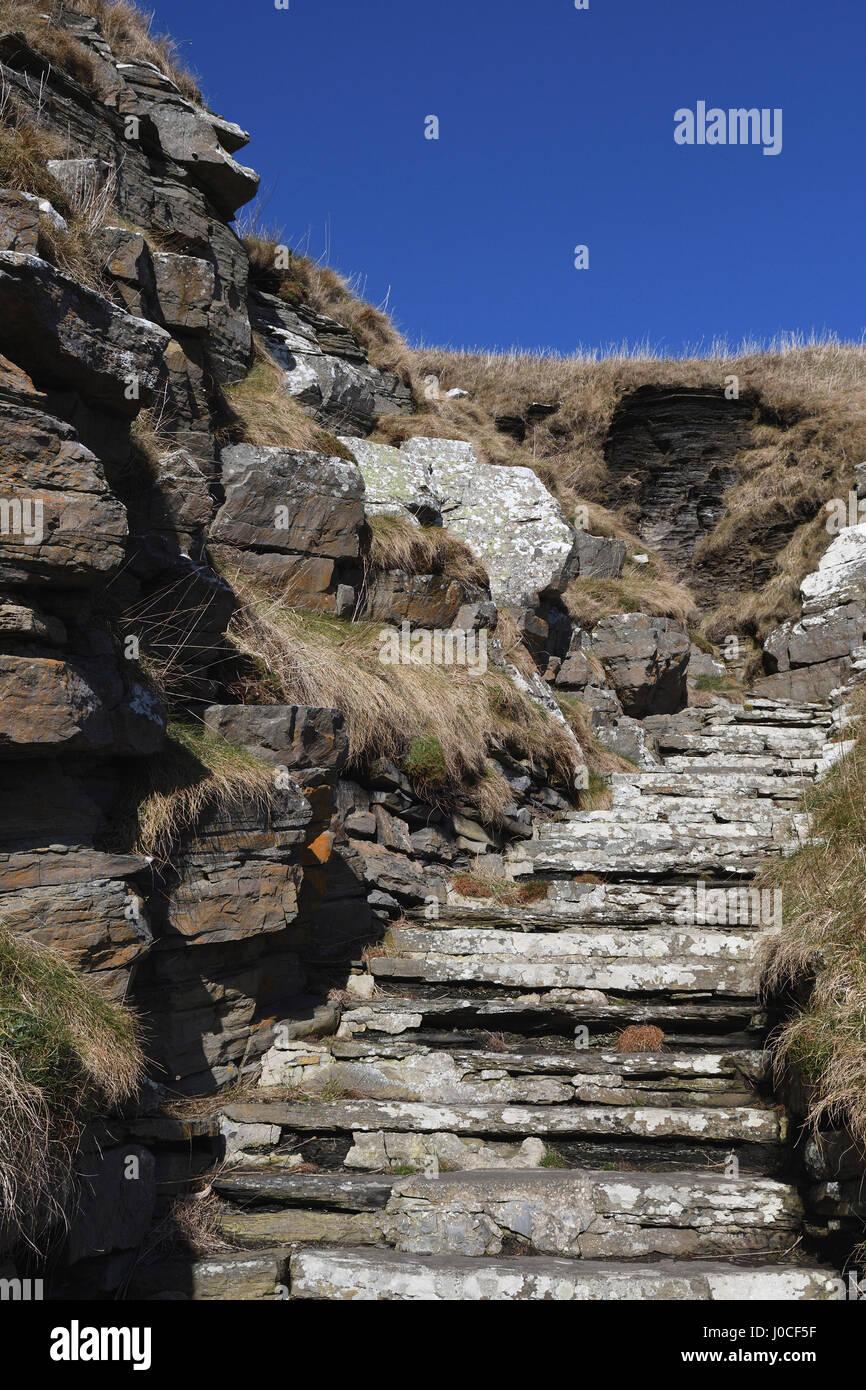 Whaligoe Schritte, steil, in der Nähe von Wick; Fisch Ehefrauen; Angeln; Caithness Schottland Stockbild