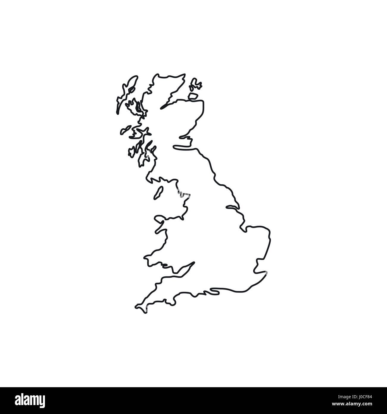 Großbritannien Karte Umriss.Karte Von Großbritannien Symbol Umriss Stil Vektor Abbildung Bild