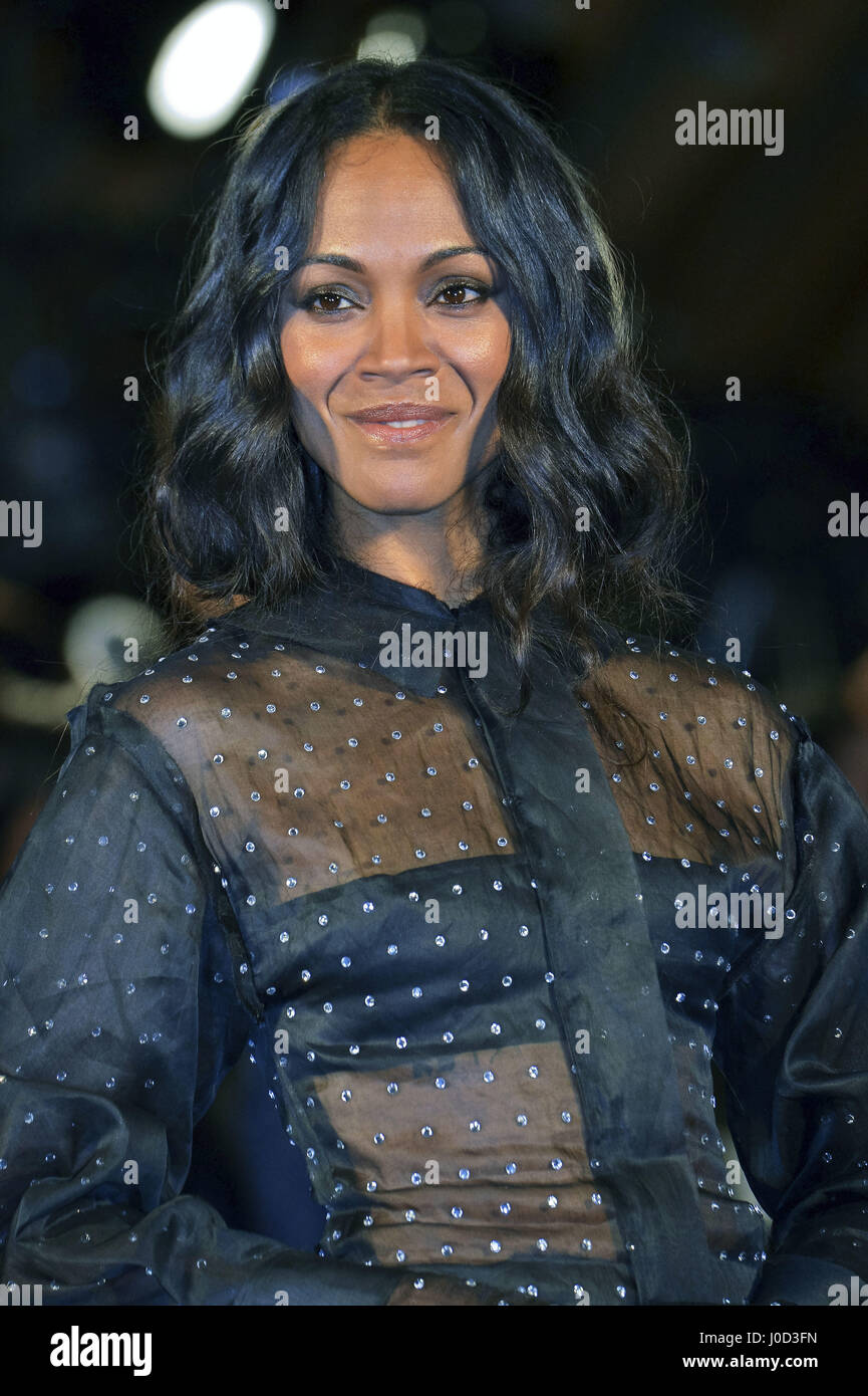 "Tokio, Japan. 10. April 2017. Schauspielerin Zoe Saldana besucht die Galaxy-Carpet-Event ""Hüter der Galaxie Stockbild"