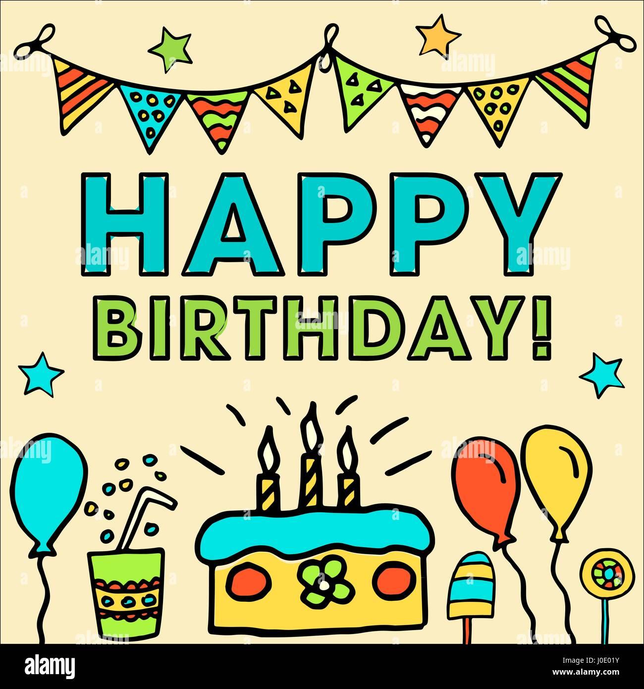Geburtstag Kinder Vektor Karte Mit Bunten Luftballons Kuchen Hut