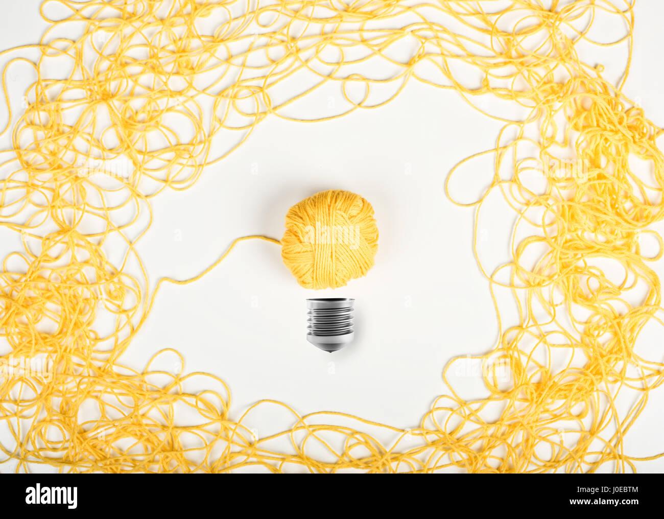 Konzept, Idee und Innovation mit Wolle ball Stockbild
