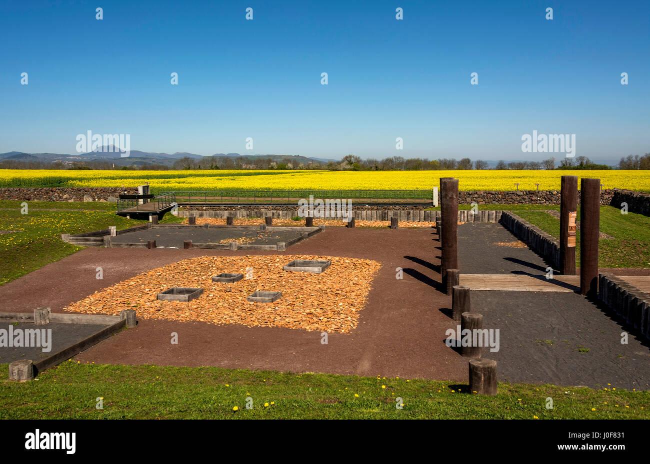 Gallien Oppidum von Corent, archäologische Stätte, Puy de Dome, Frankreich, Europa Stockfoto