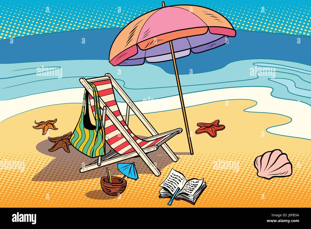 strand liege und sonnenschirm ruhen sie auf das meer und den tourismus comic cartoon. Black Bedroom Furniture Sets. Home Design Ideas