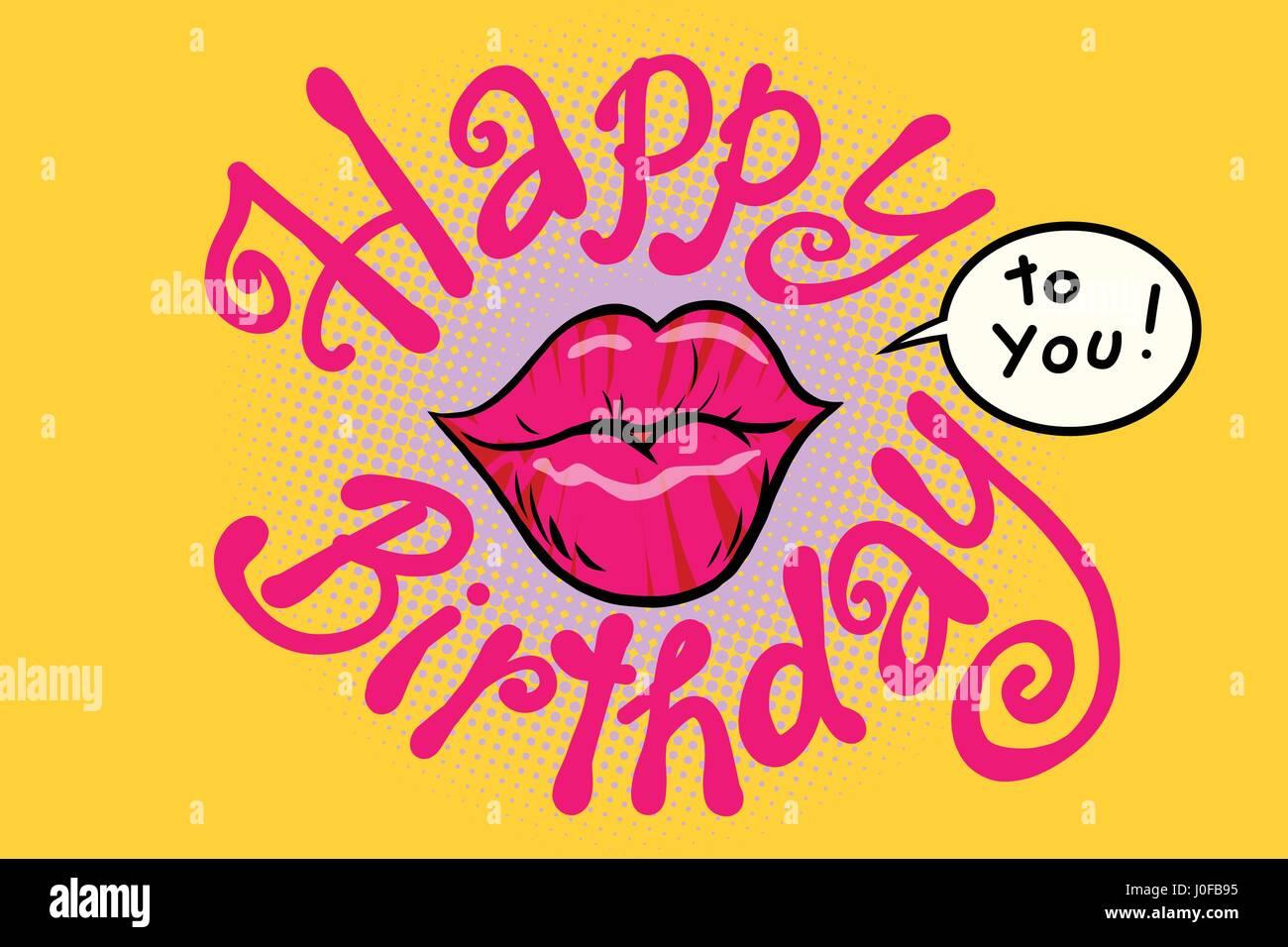 Rote Lippen Alles Gute Zum Geburtstag Fur Sie Comic Cartoon