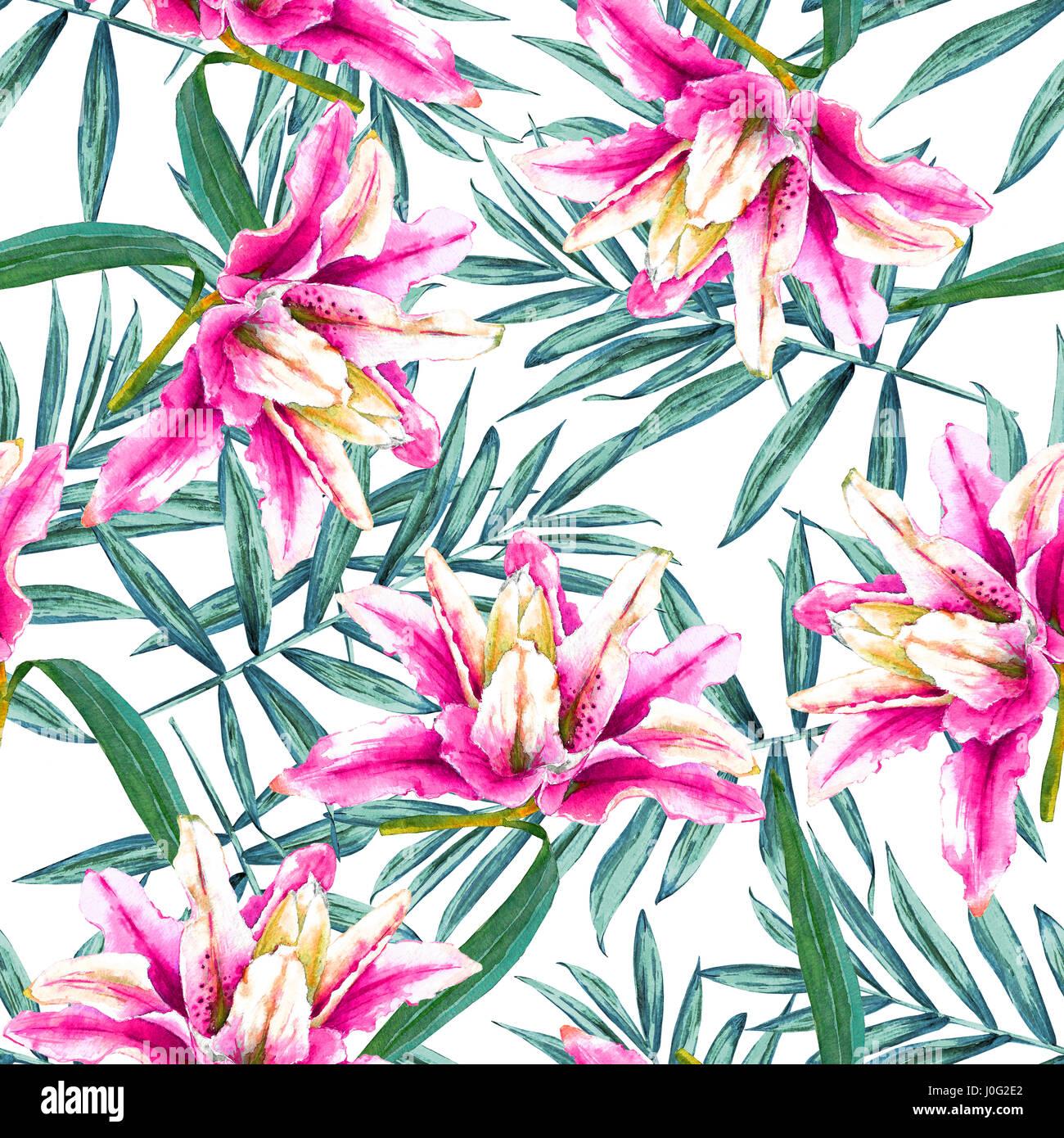 Nahtlose tropischen Blumenmuster. Aquarell exotische Blüten in rosa Lilien und Palmzweige auf weißem Hintergrund. Stockbild