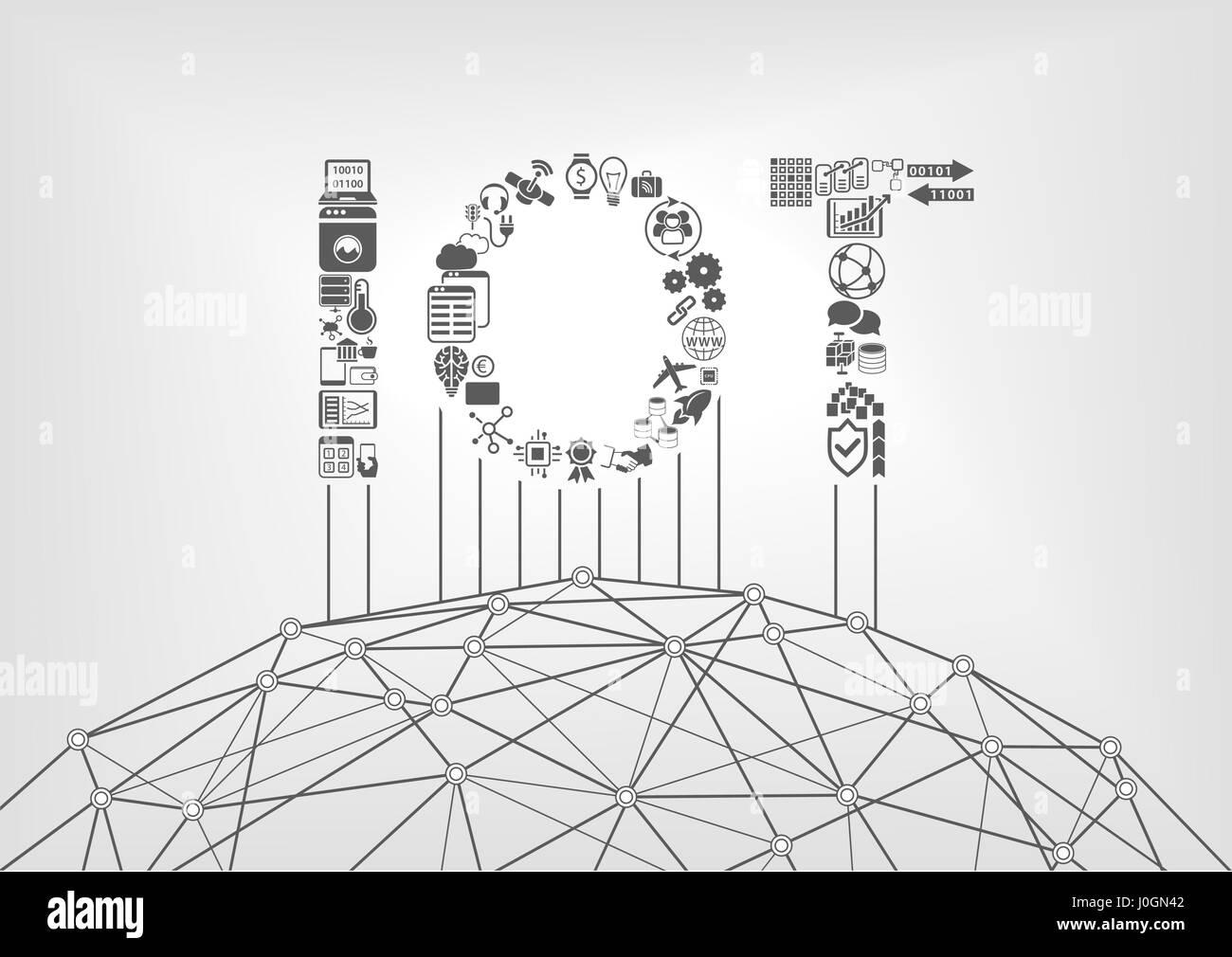Internet der Dinge-Konzept mit IOT text Stock Vektor