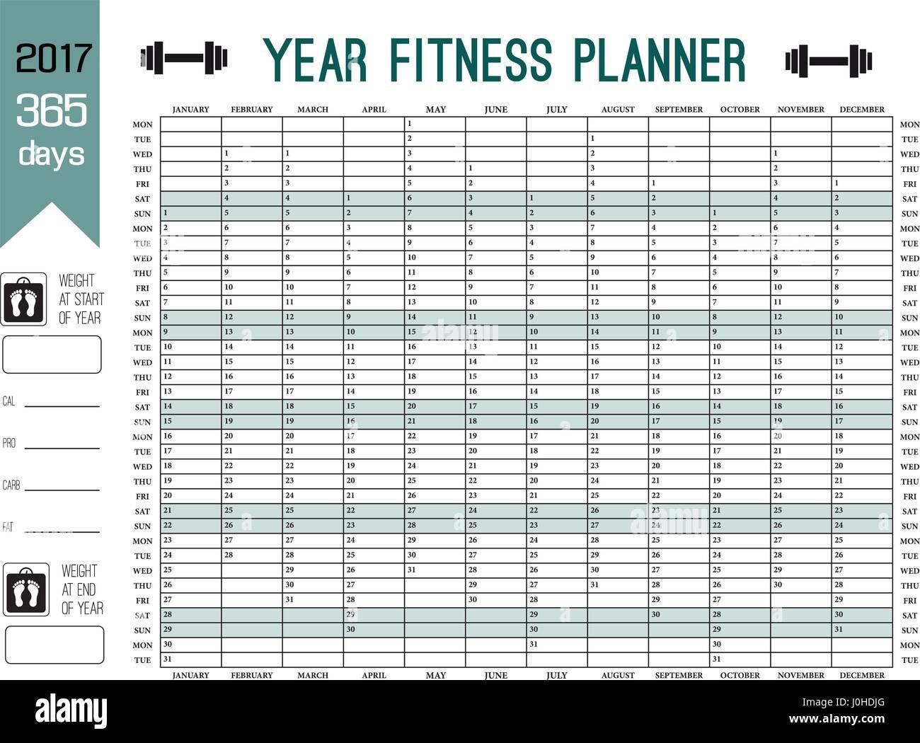 Jahres-Wandkalender-Vorlage. Planen Sie Ihre ganze Fitness mit ...