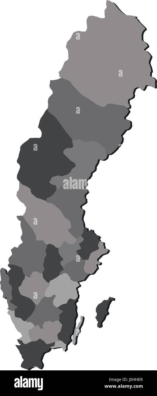 Schweden Karte Regionen.Karte Von Schweden Mit Regionen In Vektor Auf Weissem