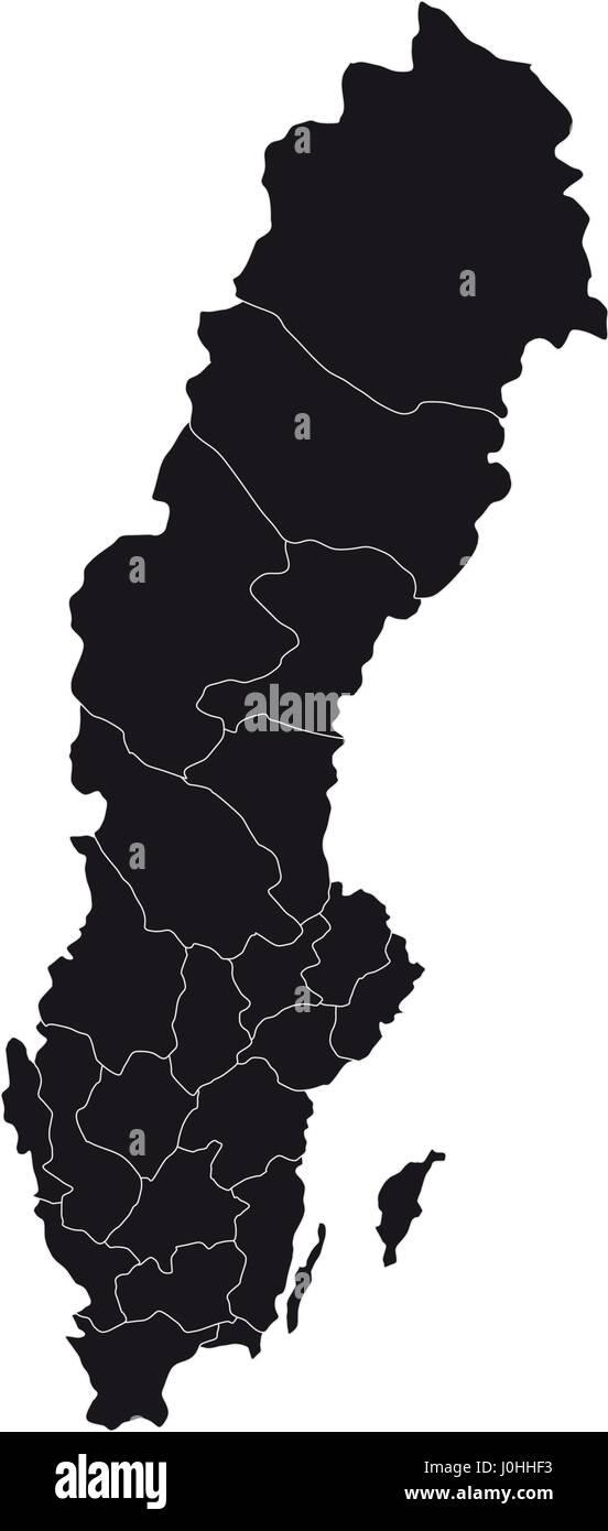 Karte Schweden Regionen.Karte Von Schweden Mit Regionen In Vektor Auf Weissem