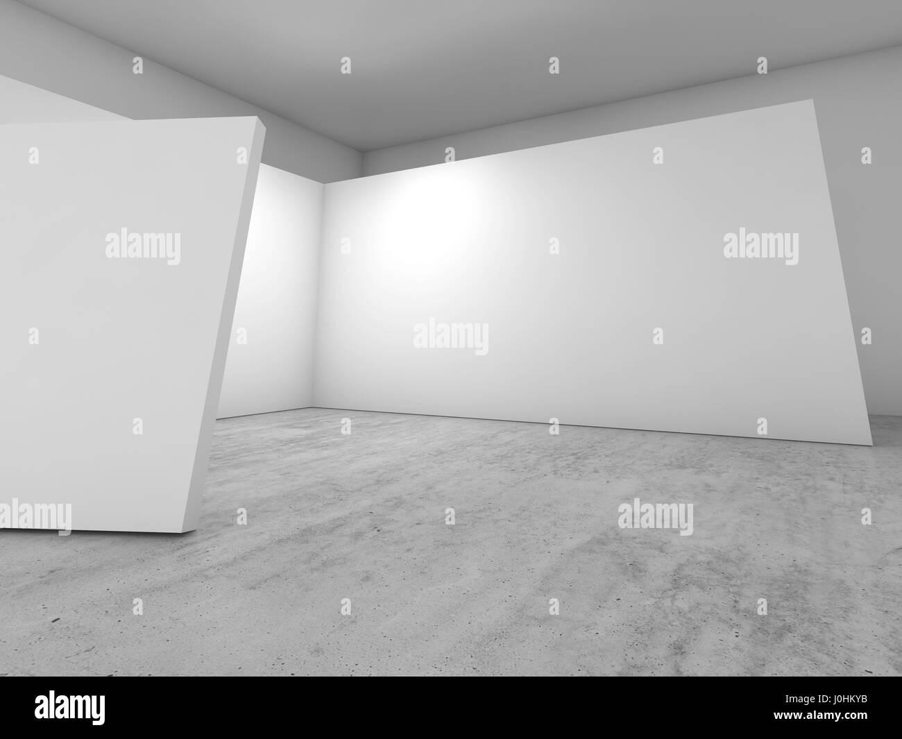 Abstrakte leeren Innenraum, weiße Wände Dekoration auf Betonboden ...