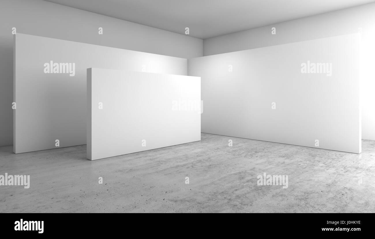 Abstrakte leeren weißen Innenraum Hintergrund, Ecke mit leere Wände ...