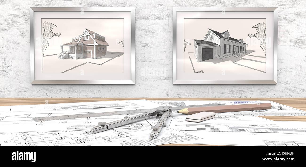 generischen architektur der baupl ne auf tisch 2 bilderrahmen auf wei em beton wand mit haus. Black Bedroom Furniture Sets. Home Design Ideas