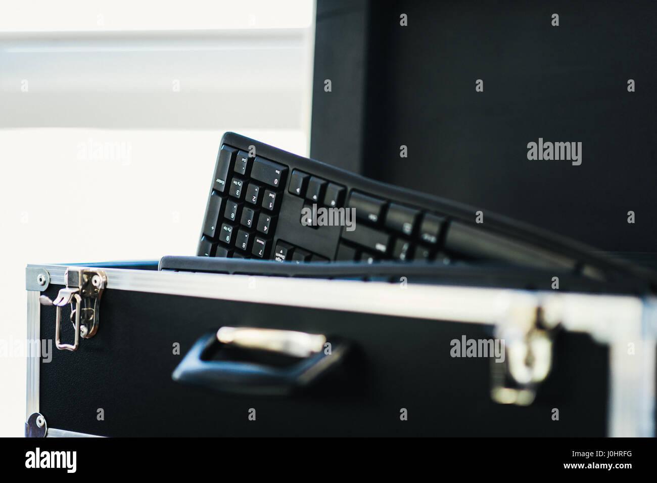 Box auf PC-Tastaturen Stockbild