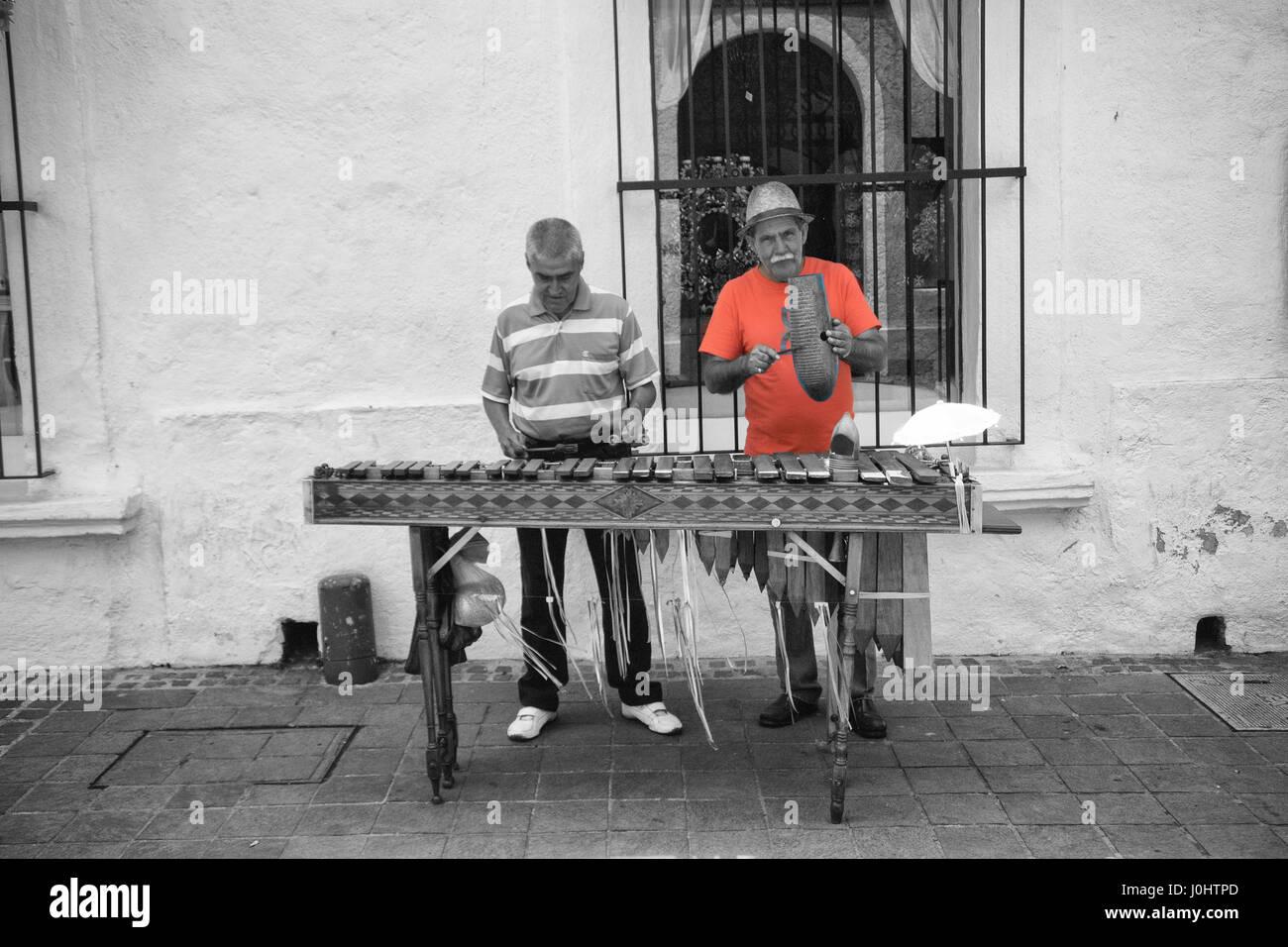 Marimba Musiker Tlaquepaque, Guadalajara, Jalisco, Mexiko. Stockbild