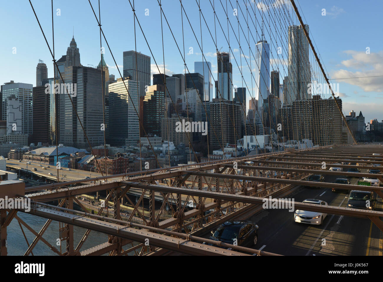 Skyline von Brooklyn Brisge Stockbild