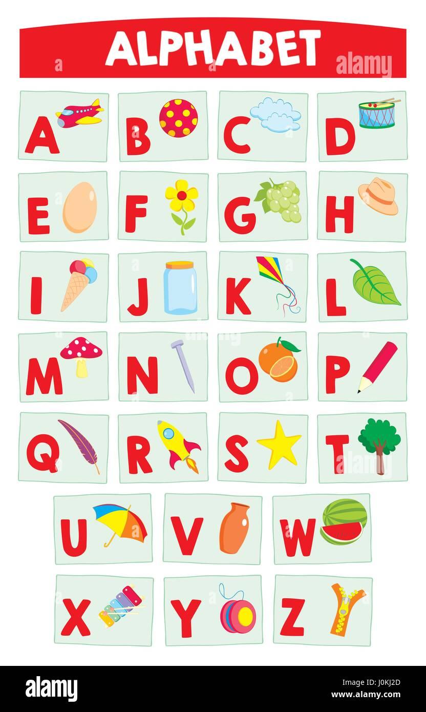 cartoonalphabet für kinder bildung poster alphabet