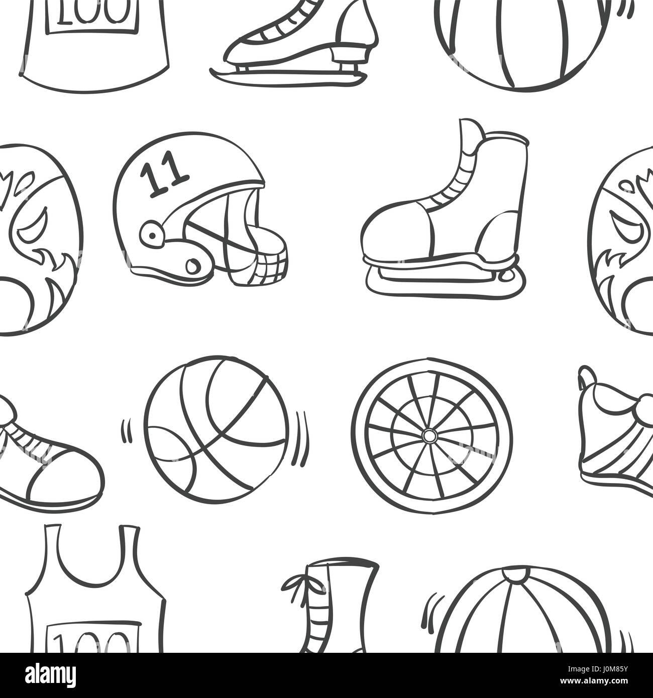 Sport Ausrüstung Hand Muster Zeichnen Vektor Abbildung Bild