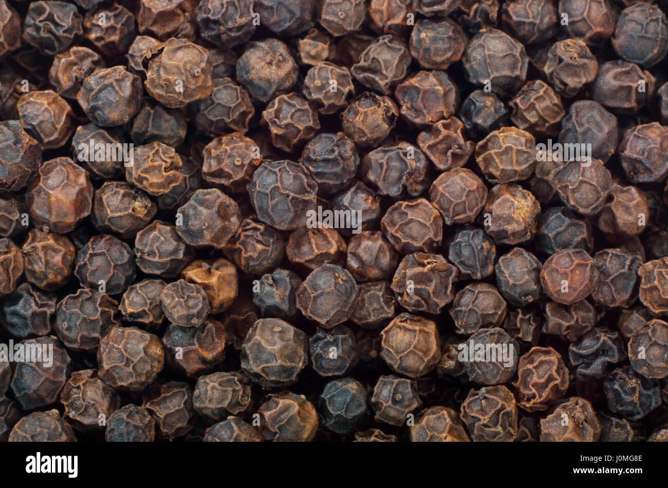 Schwarzer Pfeffer (Piper Nigrum) Früchte hautnah. Full-Frame zu ...
