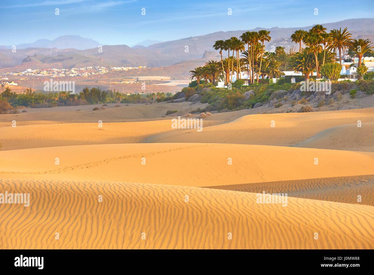 Sand-Dünen von Maspalomas, Gran Canaria, Spanien Stockbild