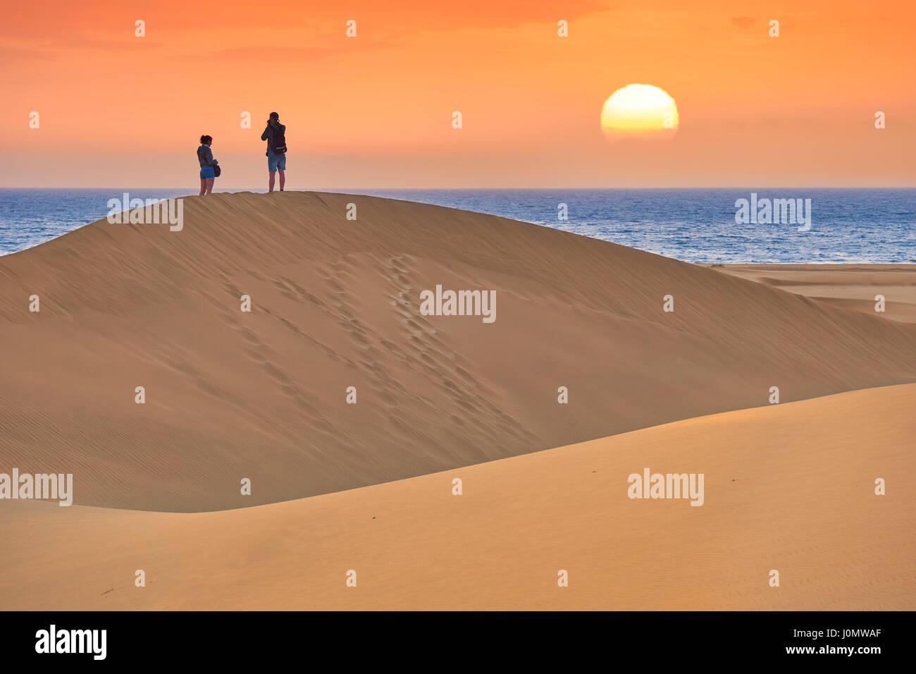 Gran Canaria, sunrise Landschaft der Sanddünen von Maspalomas, Kanarische Inseln, Spanien Stockbild
