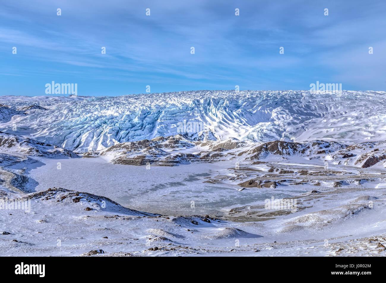 Eis-Kappe, Punkt 660, Kangerlussuaq, Polarkreis, Grönland, Europa Stockbild