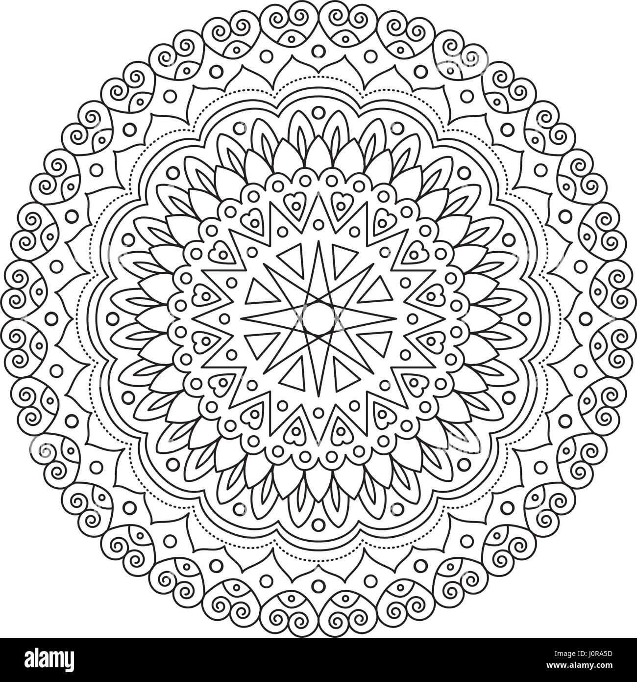Coloring Book Mandala. Kreisen Sie Spitze Ornament, rundem ...