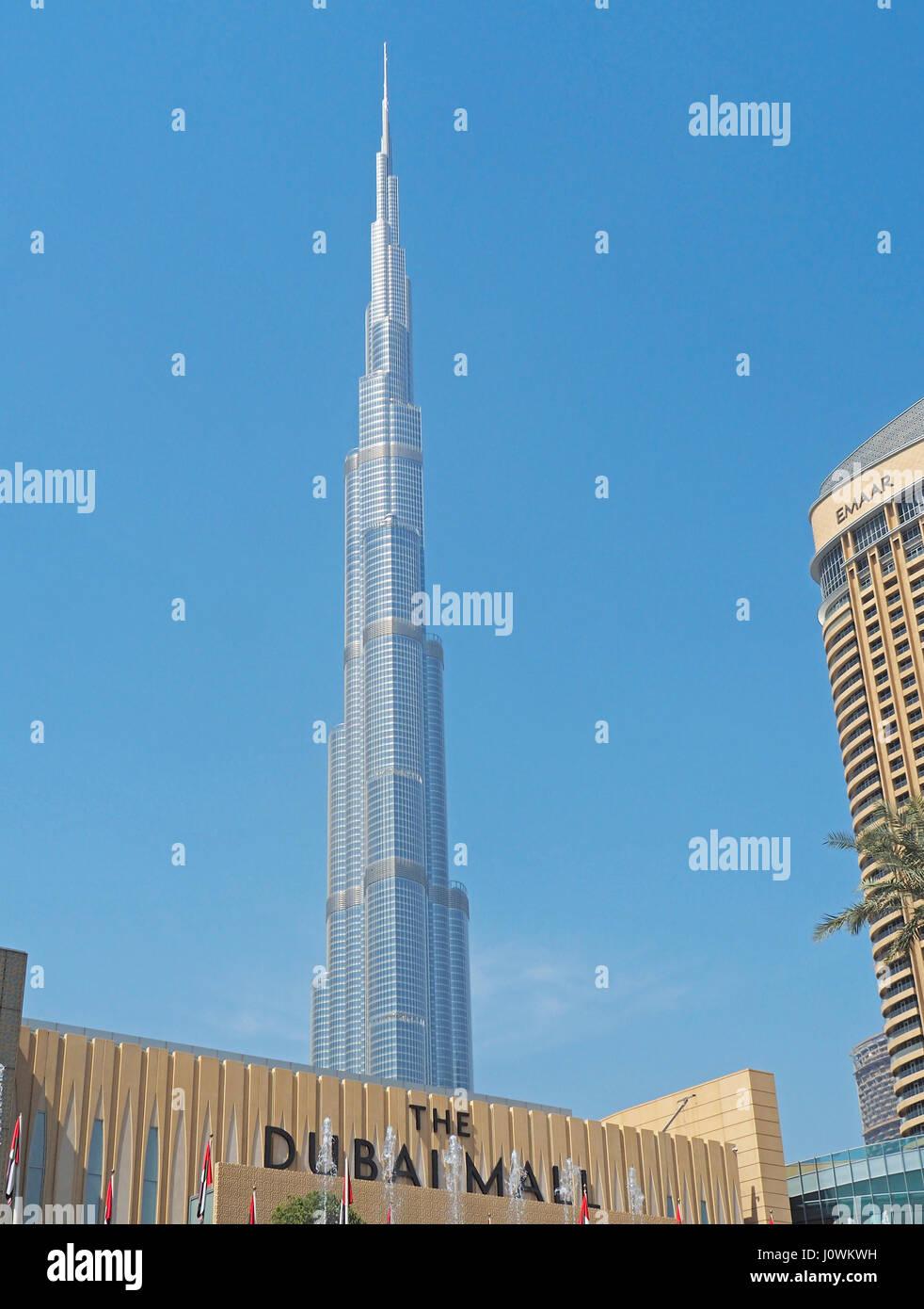 Wolkenkratzer Burj Khalifa in Dubai, VAE. Stockbild