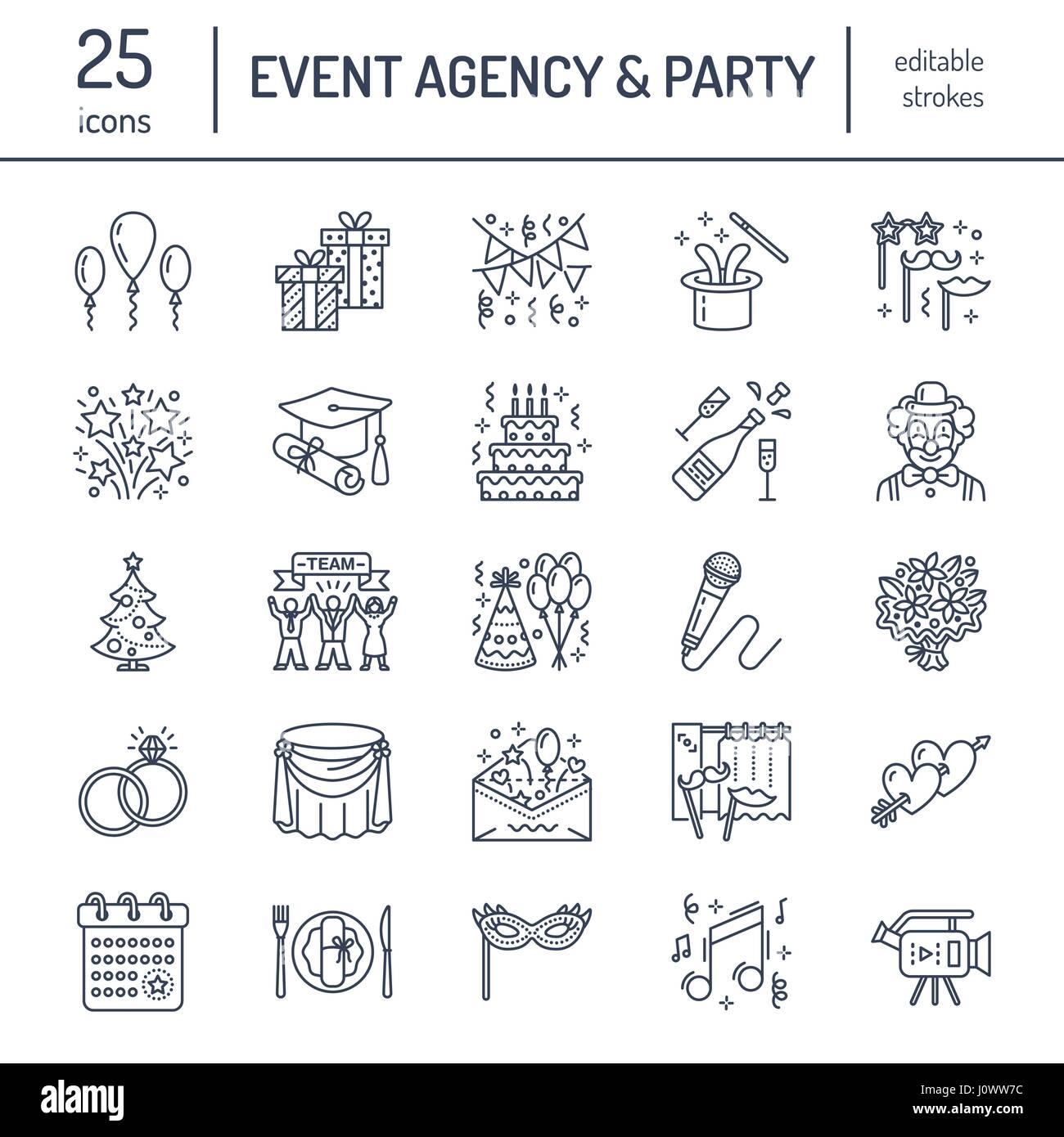 Event Agentur, Hochzeit Organisation Vektor Liniensymbol. Partyservice,  Catering, Geburtstagstorte, Ballon