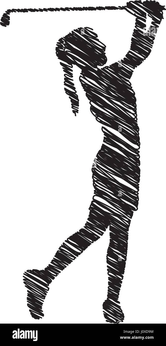 Silhouette Zeichnung Madchen Spielen Golf Symbol Vektor Abbildung