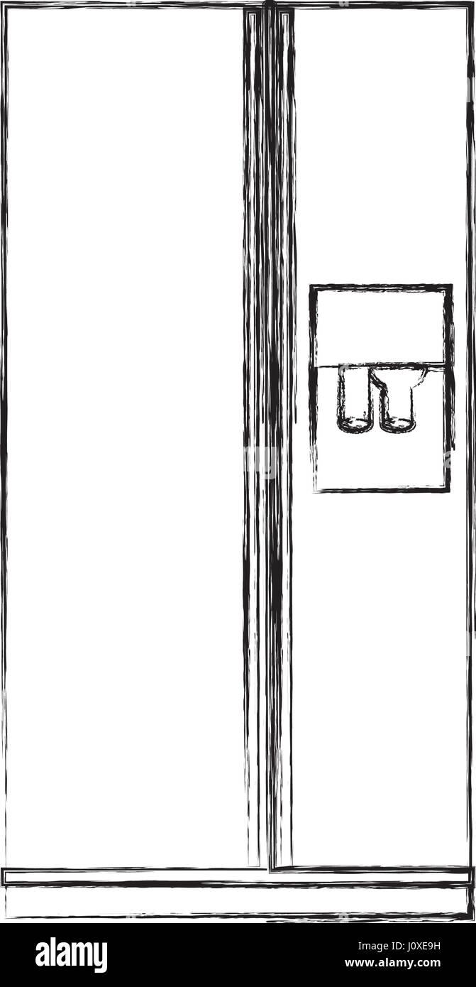 monochrome Skizze der Kühlschrank mit Wasserspender Vektor Abbildung ...