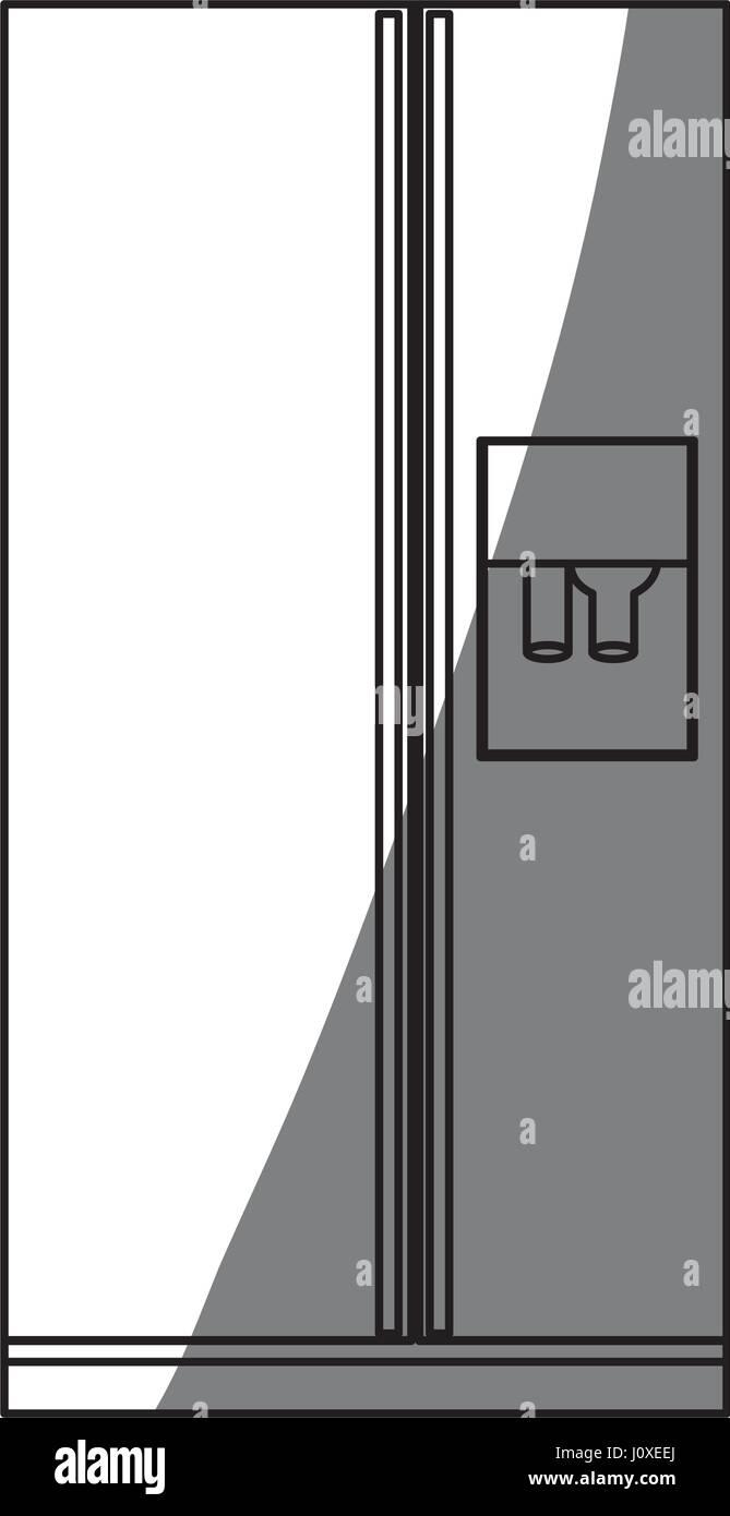 monochrome Silhouette der Kühlschrank mit Wasserspender Vektor ...