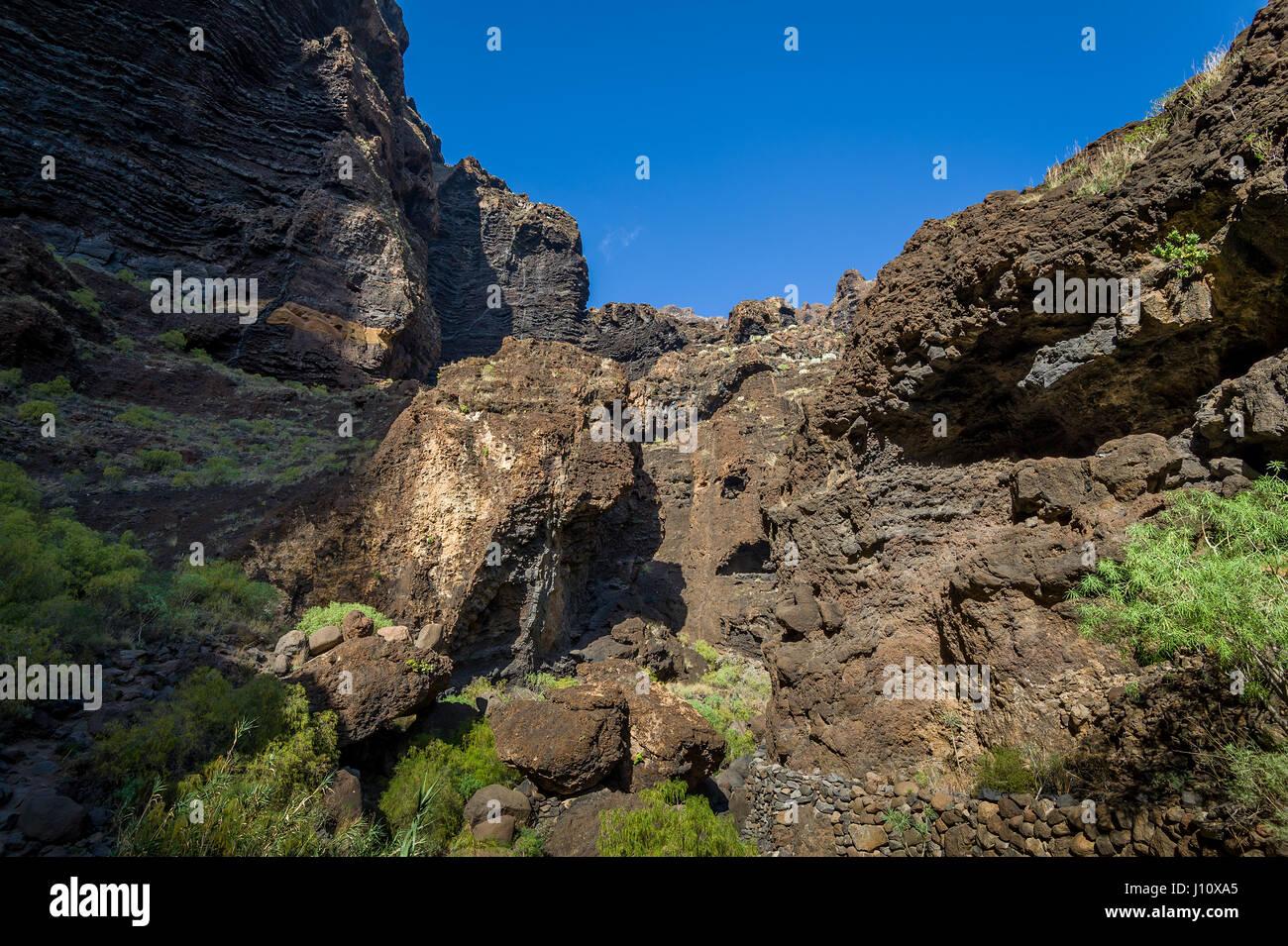 Masca trekking Felsen, Teneriffa Stockbild