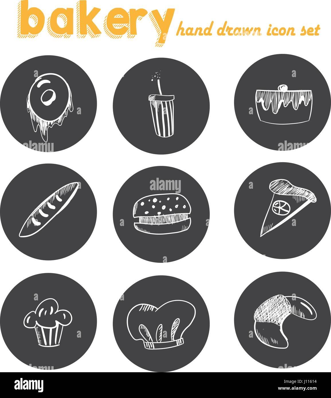 hand gezeichnet b ckerei icon set aufkleber tafel mit. Black Bedroom Furniture Sets. Home Design Ideas
