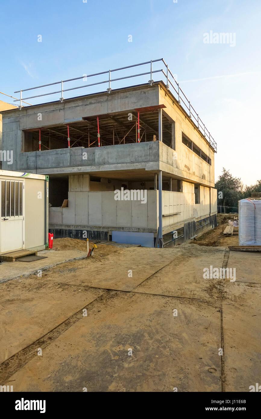 Moderne Villa Zu Bauen Im Bau Baugrundstuck Niederlande Stockfoto