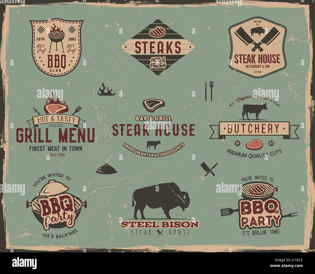 Vintage Grill Und Steakhaus Logo Vorlagen Retro Farben Grill