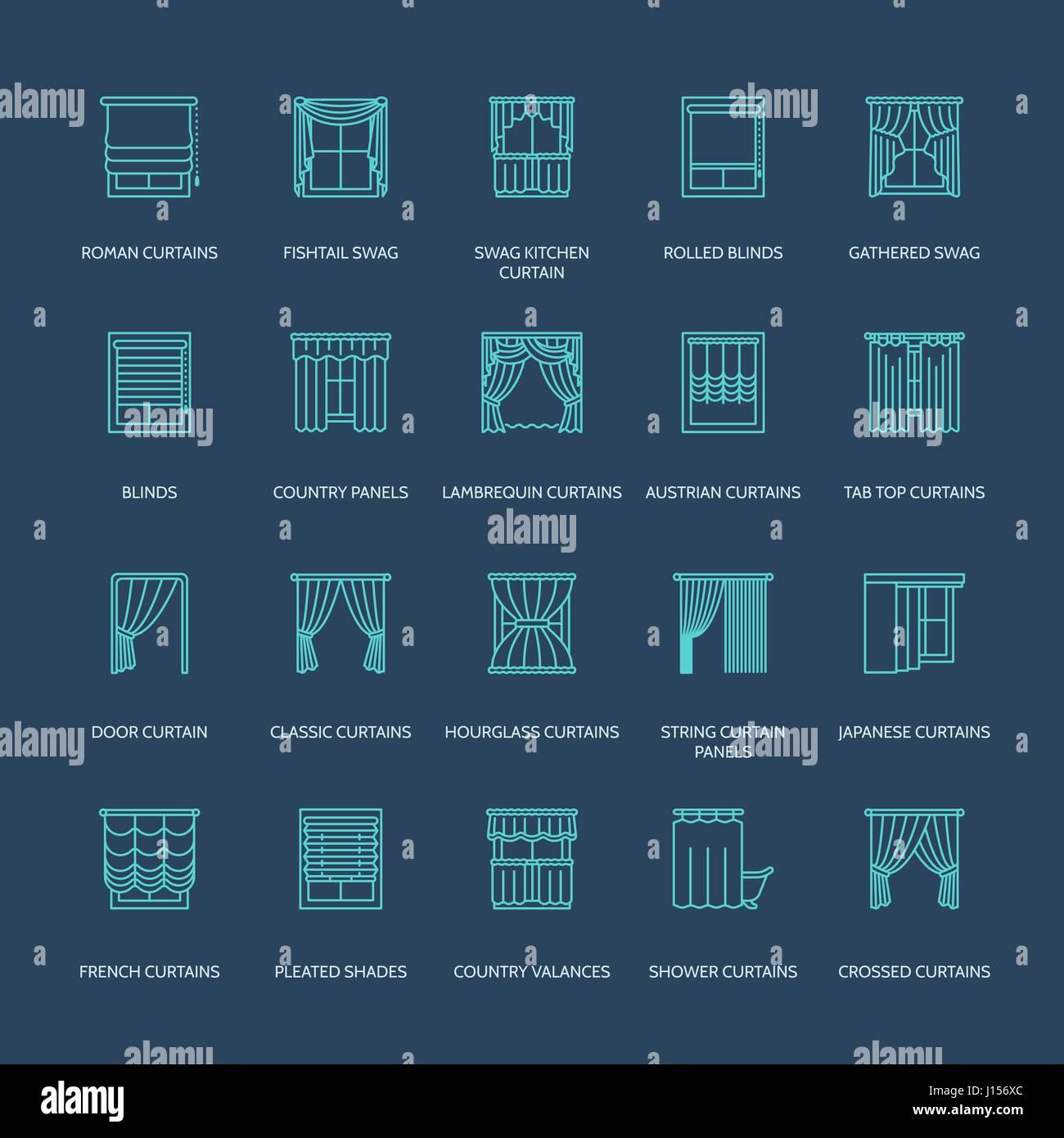 Fenstervorhänge, Linie Schattierungen Symbole. Verschiedene Zimmer ...