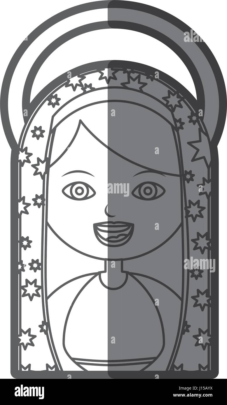 monochrome Silhouette Abbildung Jungfrau Maria Cartoon mit aureole Stockbild