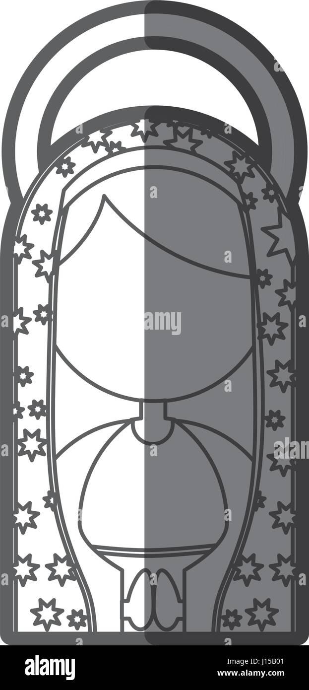 monochrome Silhouette Abbildung Fasceless Jungfrau Maria Cartoon mit aureole Stockbild