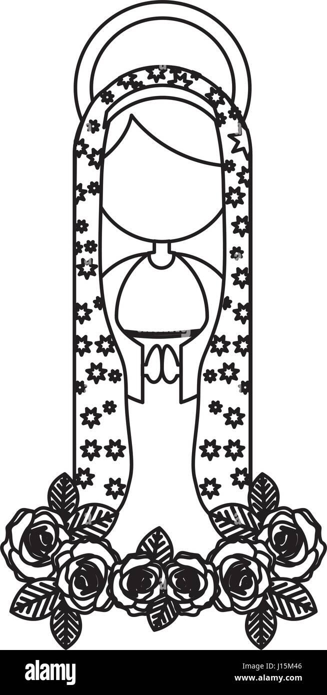 Silhouette Abbildung Fasceless Jungfrau Maria Cartoon mit aureole Stockbild