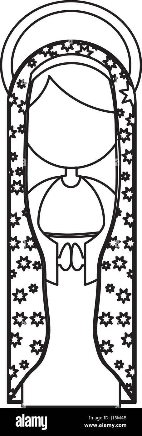 Silhouette Abbildung Fasceless Jungfrau Maria Cartoon mit Heiligenschein und Mantel dekorieren Stockbild