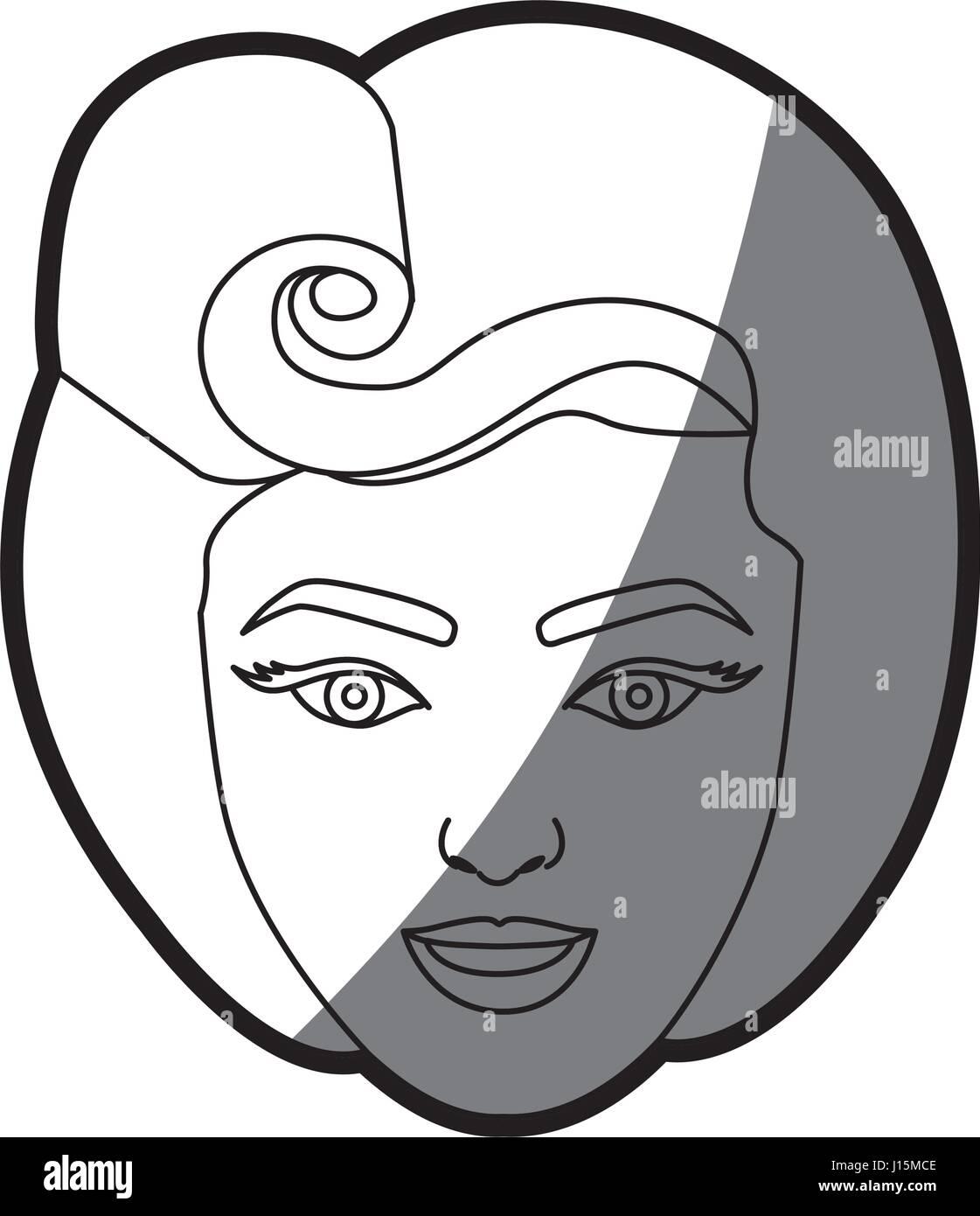 Kontur Schattierung Gesicht Frau Mit 80er Jahre Frisur