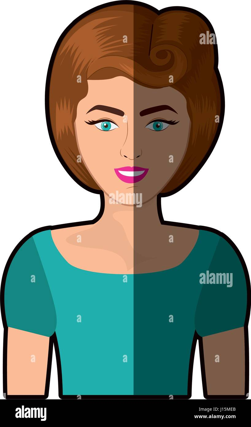 Bunte Schattierungen Realistisch Halben Körper Frau Mit 80er