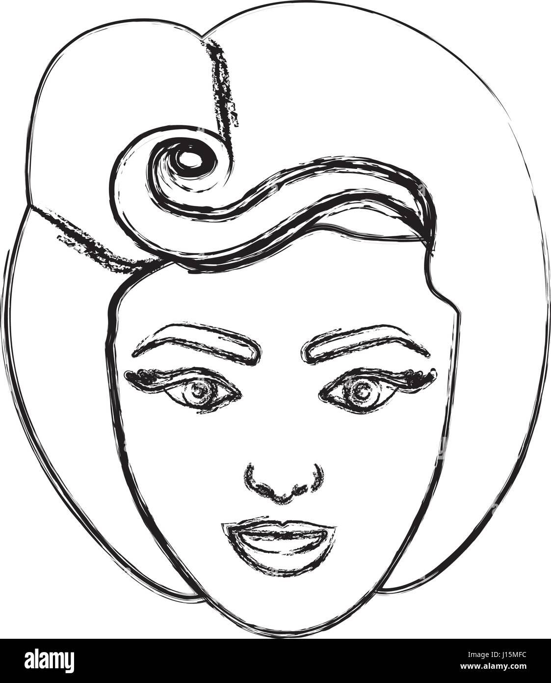 Verschwommene Silhouette Zeichnung Gesicht Frau Mit 80er