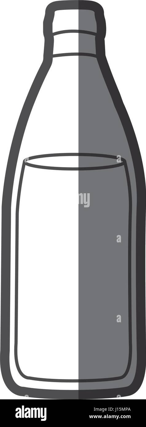 Graustufen-Silhouette mit Flasche Wasser Stockbild
