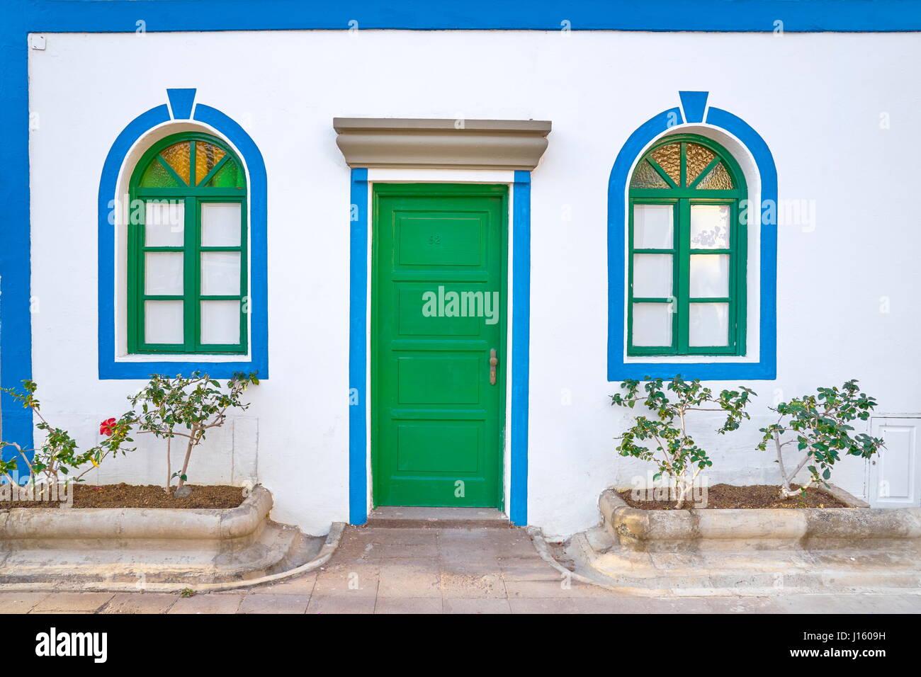 Haus mit weißen Wänden, Puerto de Mogan, Kanarische Inseln, Gran Canaria, Spanien Stockbild