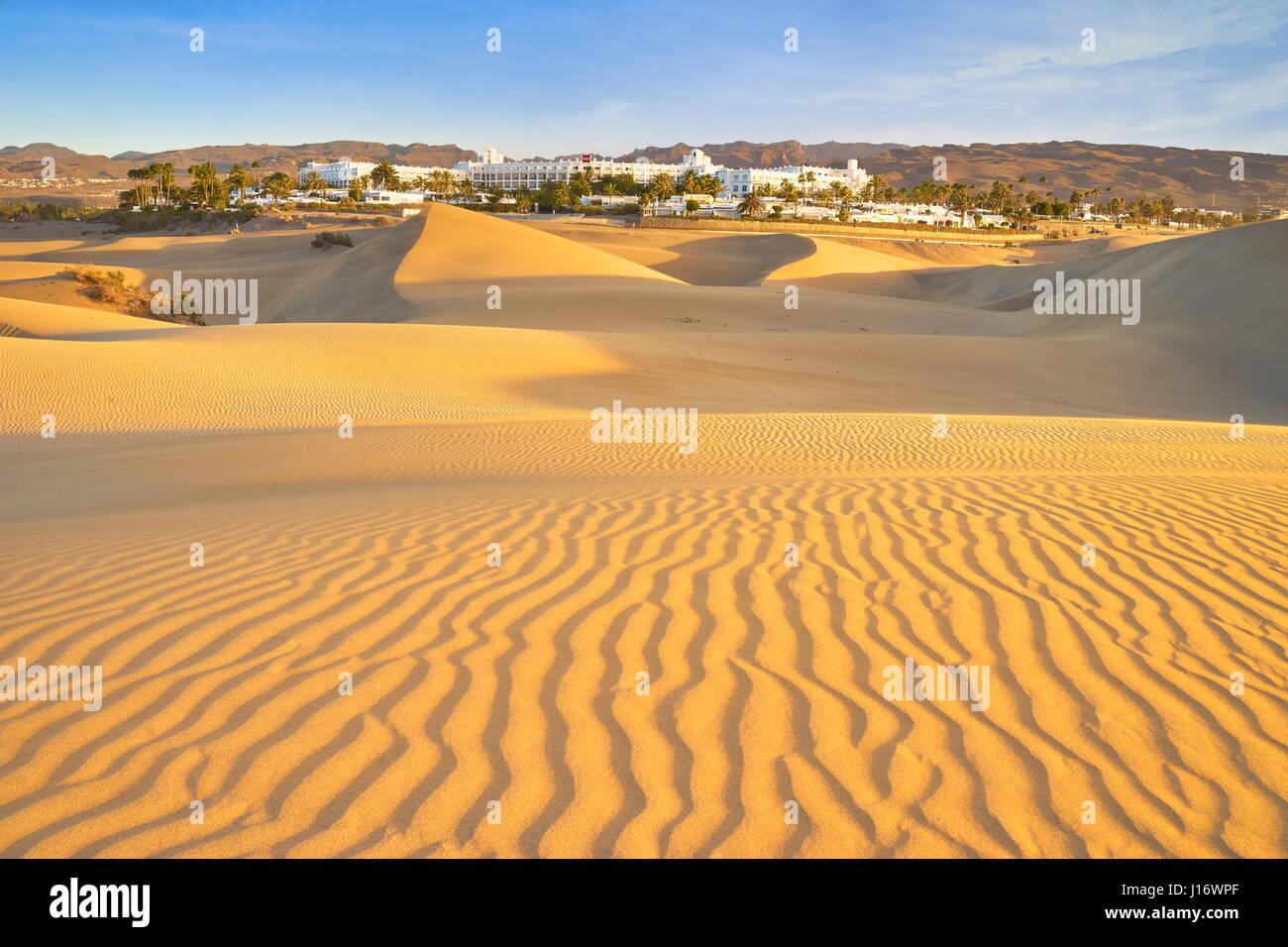 Sand-Landschaft des Nationalparks Maspalomas, Kanarische Inseln, Gran Canaria, Spanien Stockbild