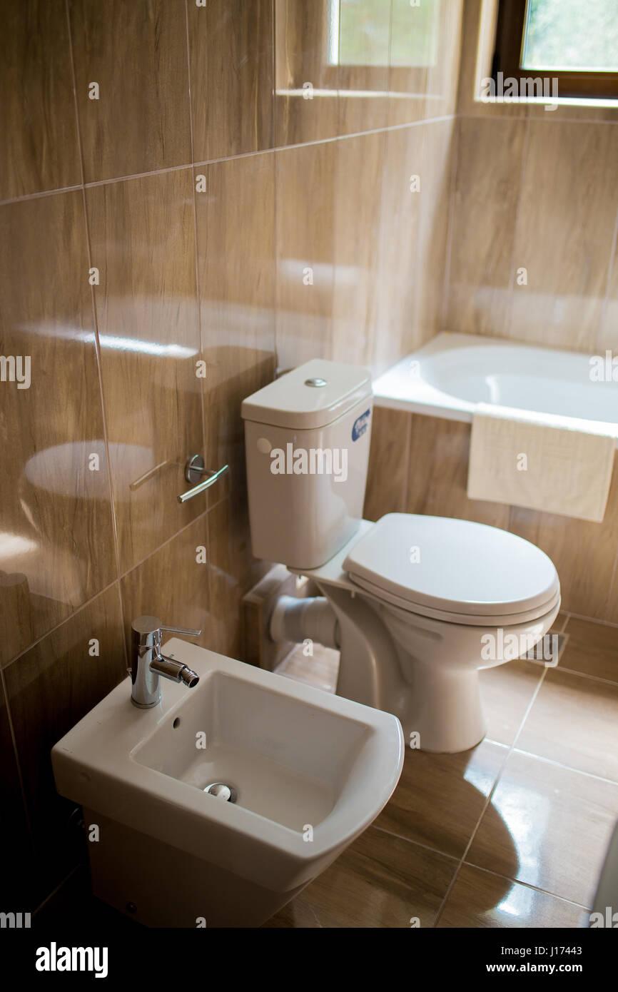 Badezimmer Interieur Waschbecken Bidet Wc Grosser Spiegel Die