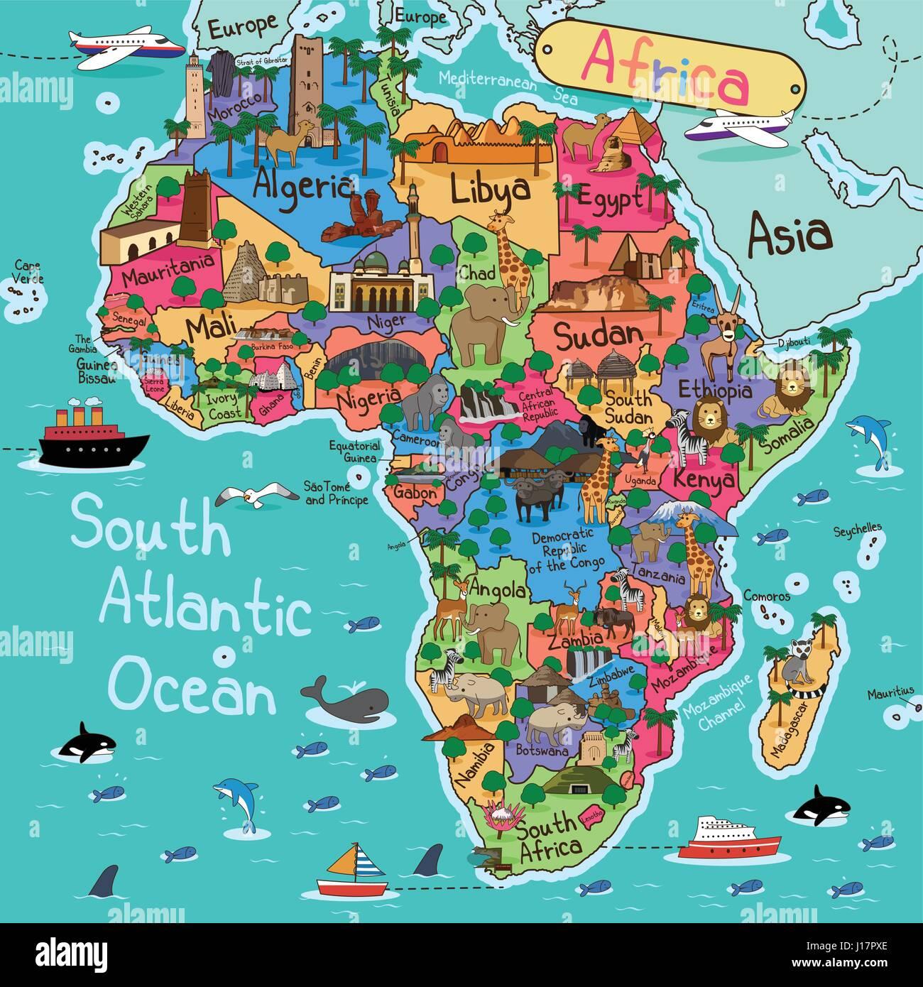 Karte Afrika.Eine Vektor Illustration Der Afrika Karte Im Cartoon Stil Vektor